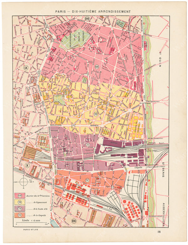 Paris, France Circa 1900: 18th Arrondissement