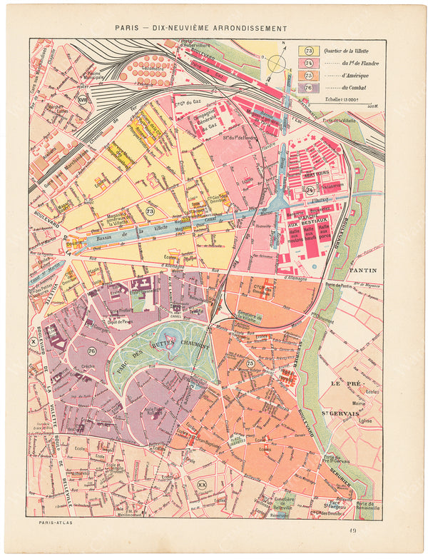 Paris, France Circa 1900: 19th Arrondissement