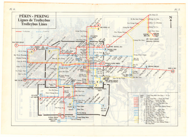 Beijing, China Transit Map: Trolley Bus Lines
