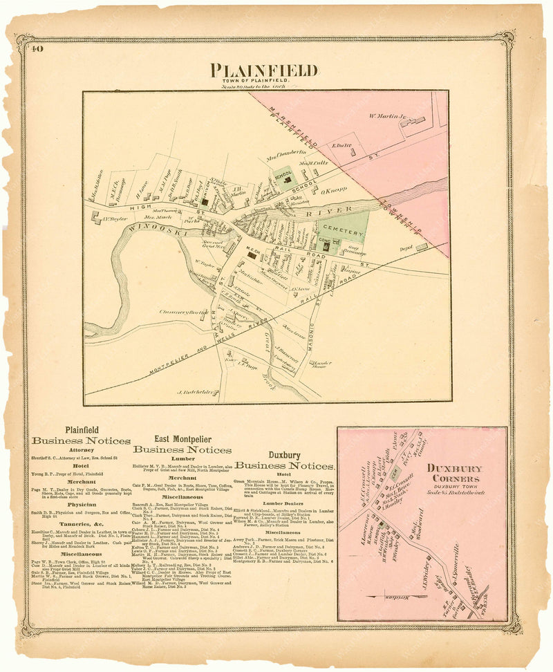 Plainfield and Duxbury, Vermont 1873
