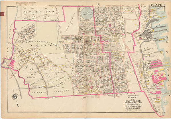 Bergen County, New Jersey, Vol. 1, 1912 Plate 001: Cliffside Park, Edgewater, Fairview, Ridgefield