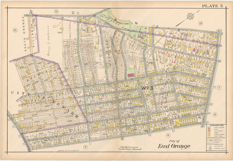 The Oranges, New Jersey 1911 Plate 005: East Orange