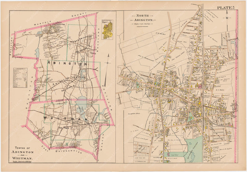 Plymouth County, Massachusetts 1903 Plate 005: Abington and Whitman