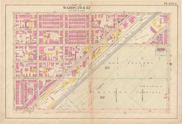 Atlas of Philadelphia, Pennsylvania 1908, 28th, 32nd, and 37th Wards: Plate 005