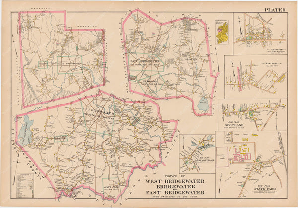 Plymouth County, Massachusetts 1903 Plate 008: Bridgewater, East Bridgewater, and West Bridgewater