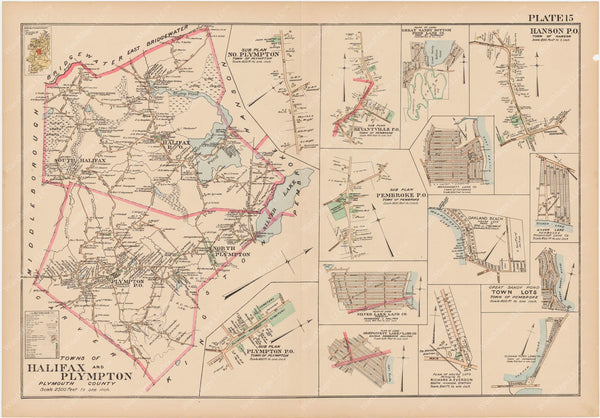 Plymouth County, Massachusetts 1903 Plate 015: Halifax and Plympton
