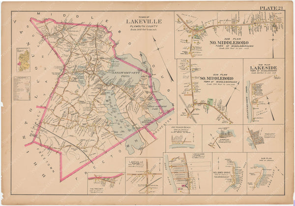 Plymouth County, Massachusetts 1903 Plate 021 (Plate 22): Lakeville and Middleborough