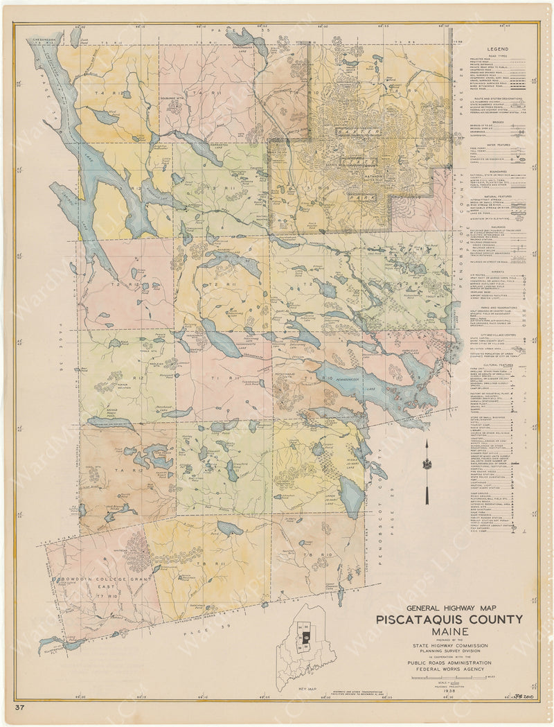 Maine Highway Atlas 1938: Piscataquis County 4 of 6