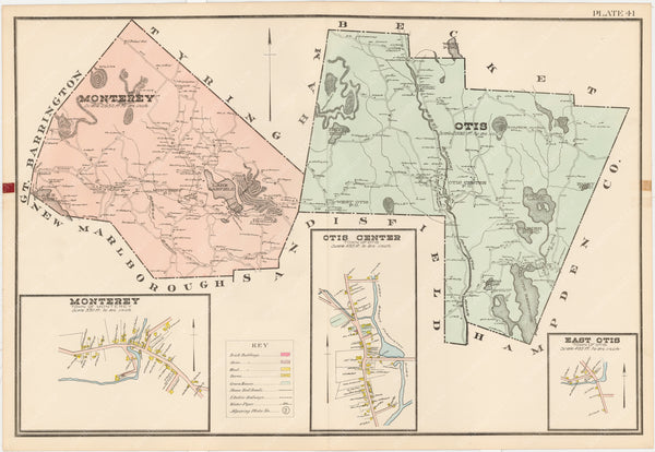 Berkshire County, Massachusetts 1904 Plate 041: Monterey and Otis