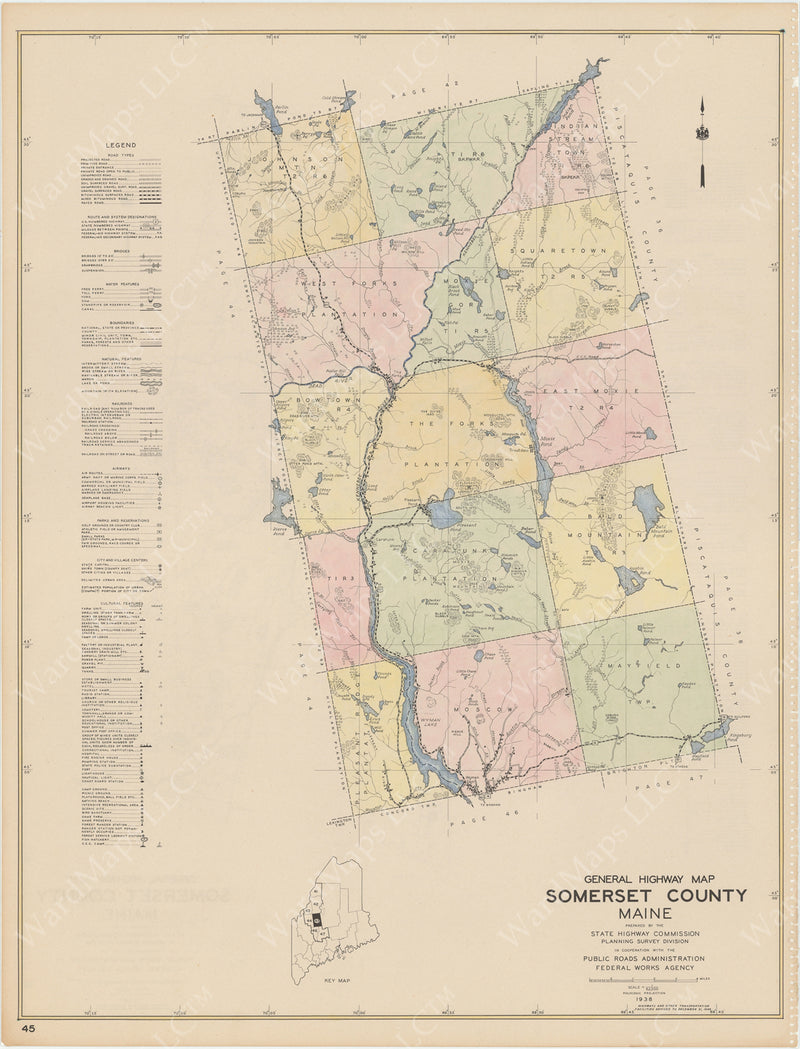 Maine Highway Atlas 1938: Somerset County 5 of 7