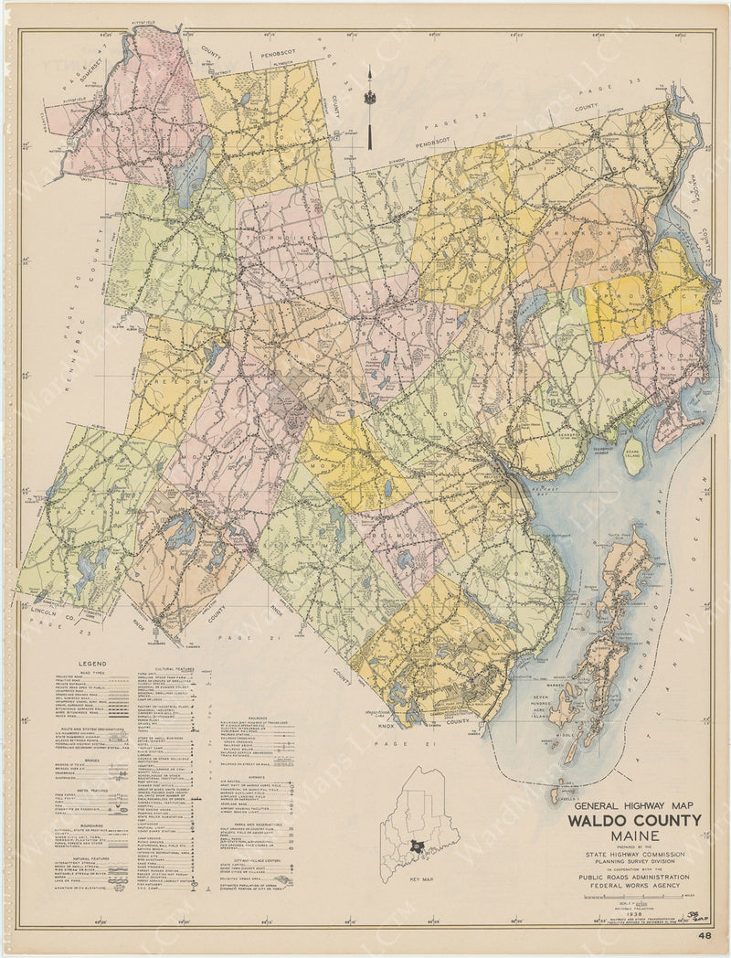 Maine Highway Atlas 1938: Waldo County 1 of 1