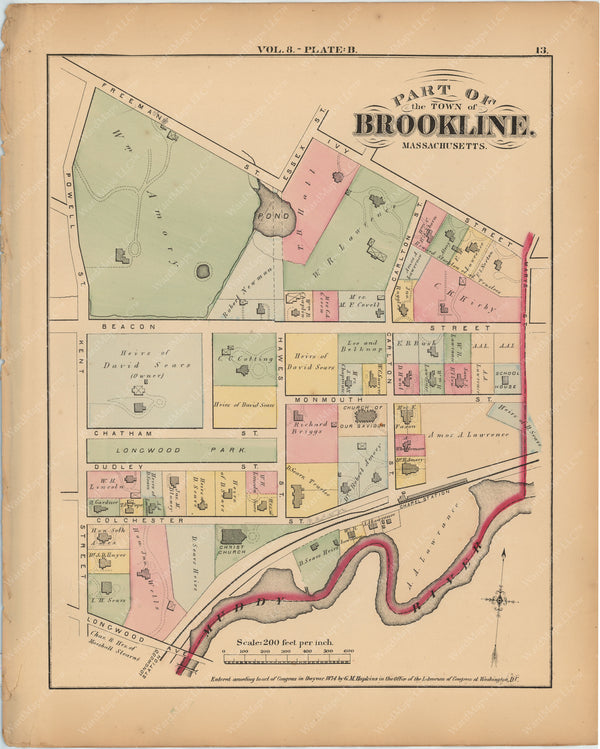 Brookline, Massachusetts 1874 Plate B