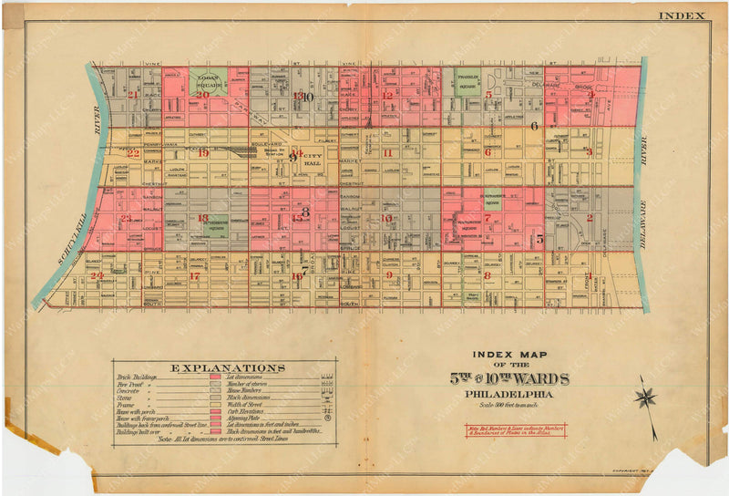 Philadelphia, Pennsylvania, 1927, 5th to 10th Wards: Index Plate