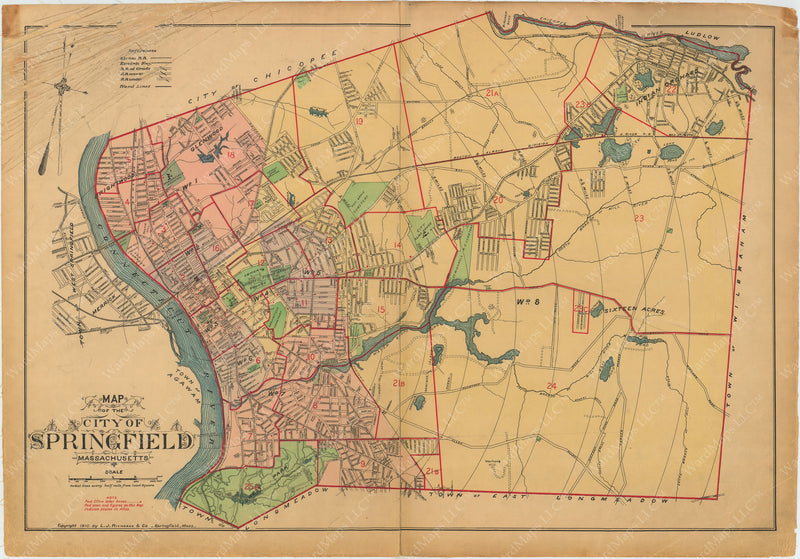 Springfield, Massachusetts 1910 Index Map