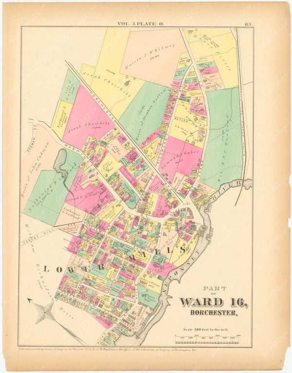 Dorchester, Massachusetts 1874 Plate O