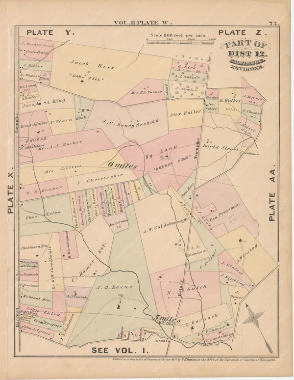 Baltimore, Maryland and Environs, Vol. 2, 1877 Plate W
