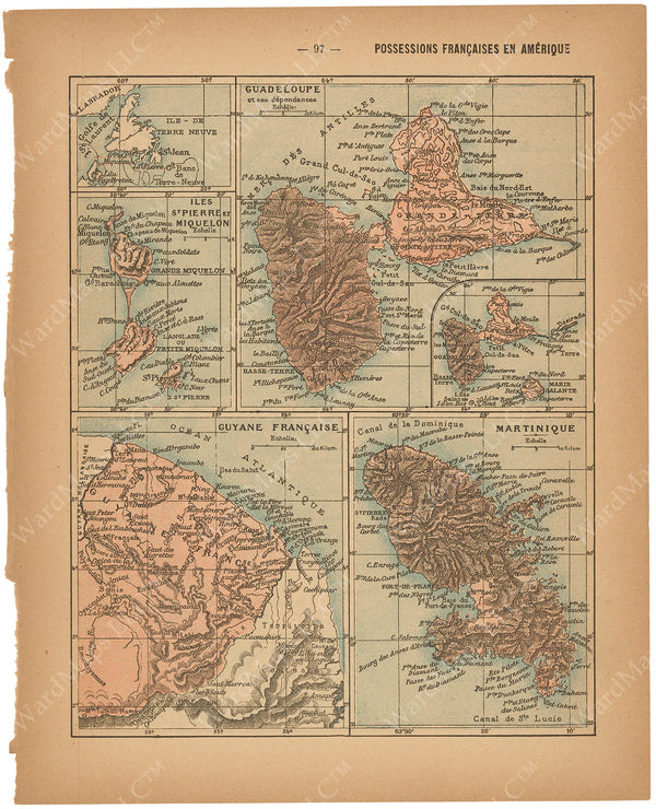 France Departments 1888: French Possessions in the Americas