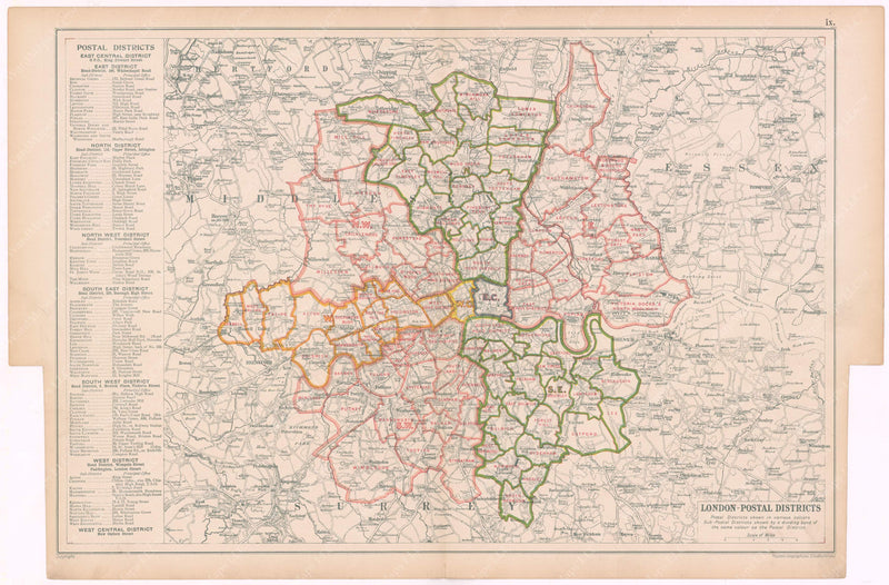 London, England and Suburbs 1910: Postal Districts