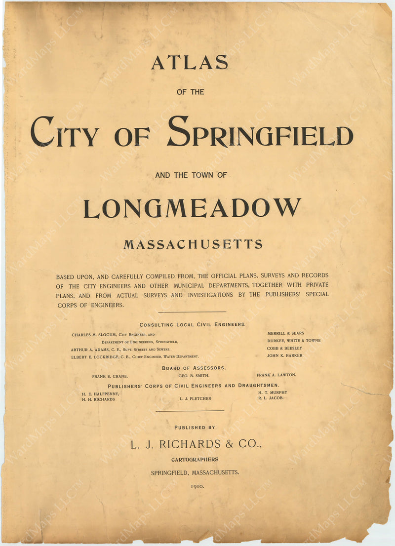 Springfield and Longmeadow, Massachusetts 1910 Title Page