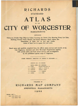 Worcester, Massachusetts 1922 Title Page