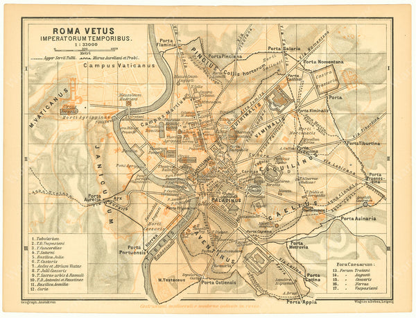 Classical Map 1900: Ancient Rome, Italy