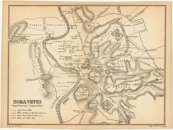 Classical Map 1890: Ancient Rome, Italy
