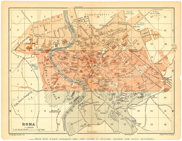 Rome, Italy 1900: Strip Index Map