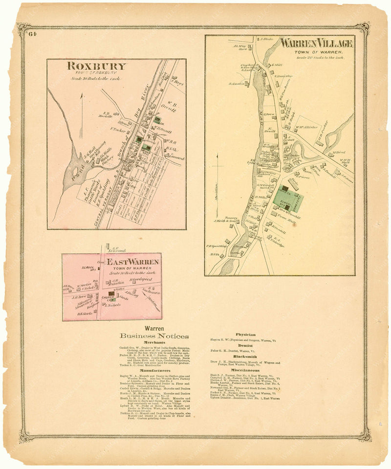 Roxbury and Warren, Vermont 1873