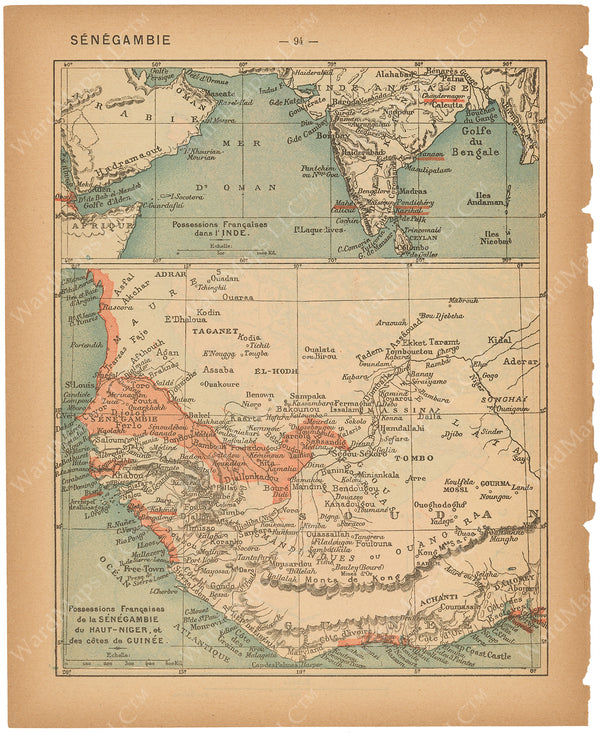 France Departments 1888: French Possessions in India and West Africa