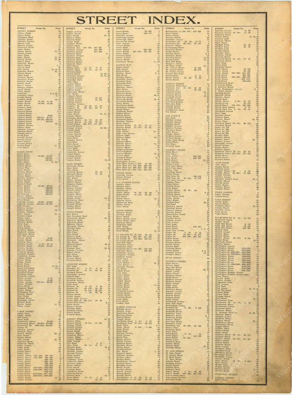West Roxbury, Massachusetts 1914 Street Index