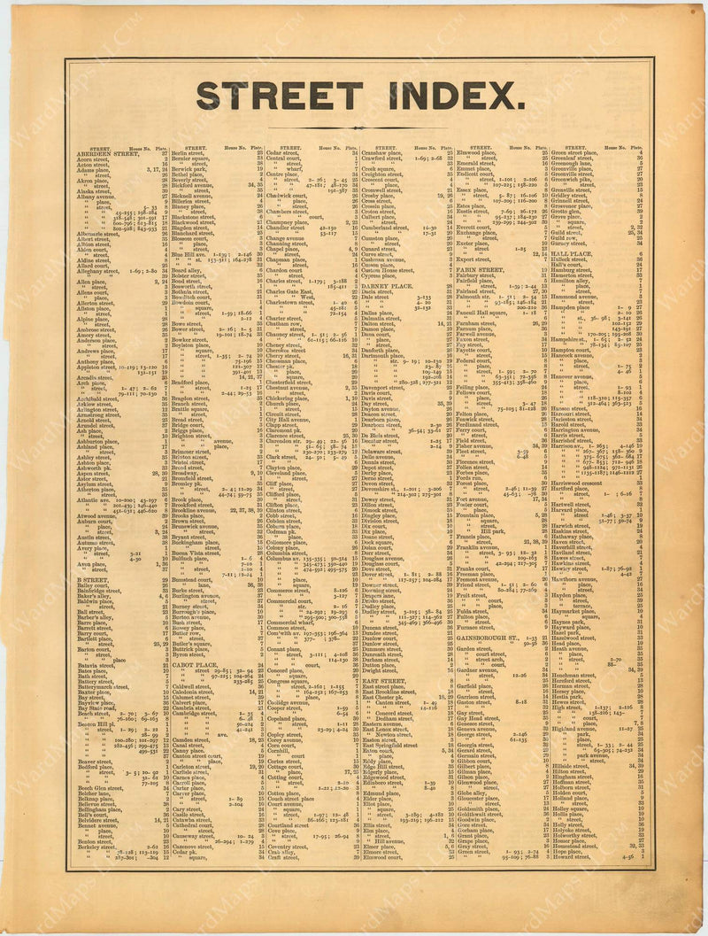 Boston and Roxbury, Massachusetts 1890 Street Index 1