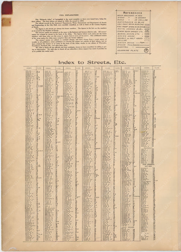 Springfield and Longmeadow, Massachusetts 1920 Street Index