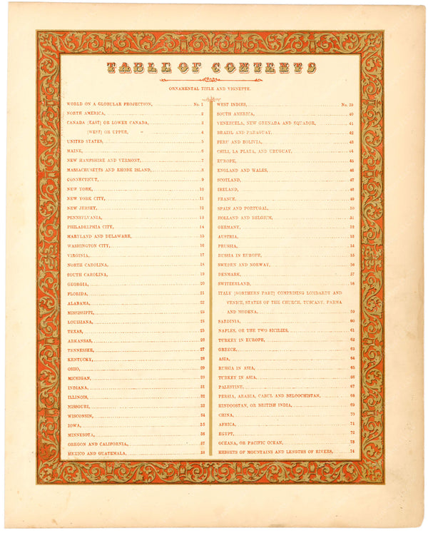 Cowperthwait's New Universal Atlas 1854 Table of Contents