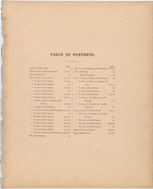 Baltimore, Maryland and Environs, Vol. 2, 1877 Table of Contents