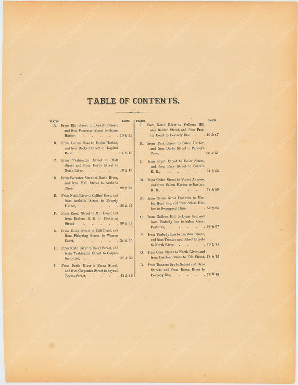 Salem, Massachusetts 1874 Table of Contents