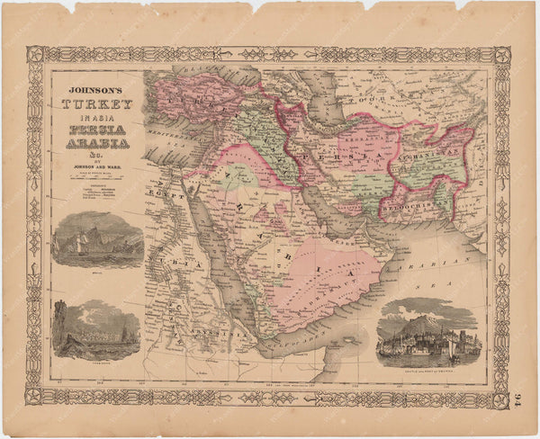 Afghanistan, Arabia, Persia, and Turkey in Asia 1865