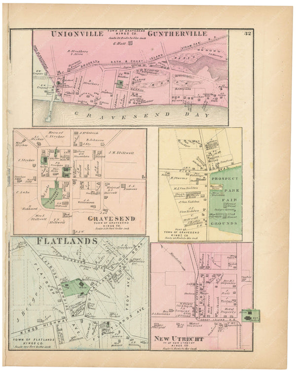 Flatlands, Gravesend, and New Utrecht Villages, New York 1873