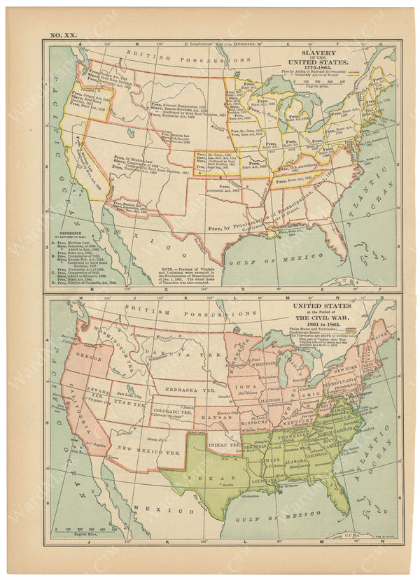 Classical Map 1914 no. XX: United States Slavery and Civil War