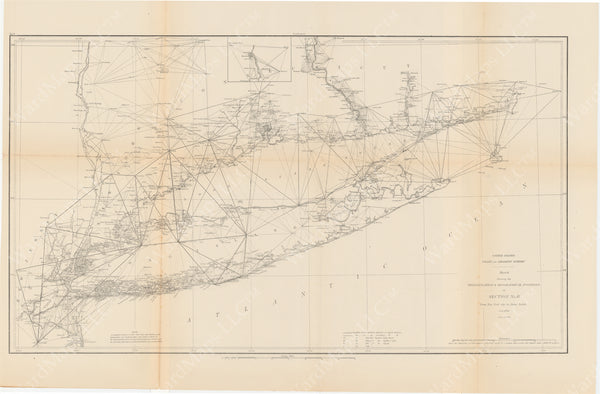USCS United States Coast 1881: Triangulation and Geographical Positions New York City, NY to Point Judith, RI