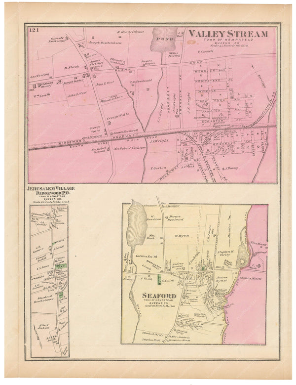 Hempstead: Jerusalem Village, Seaford, Valley Stream, New York 1873