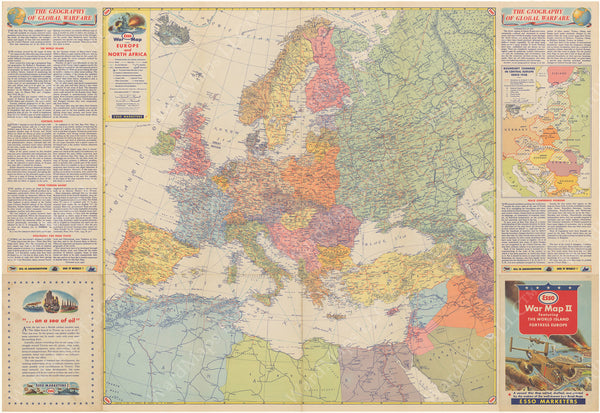 "WWII War Map ""Europe and North Africa"" Circa 1940"