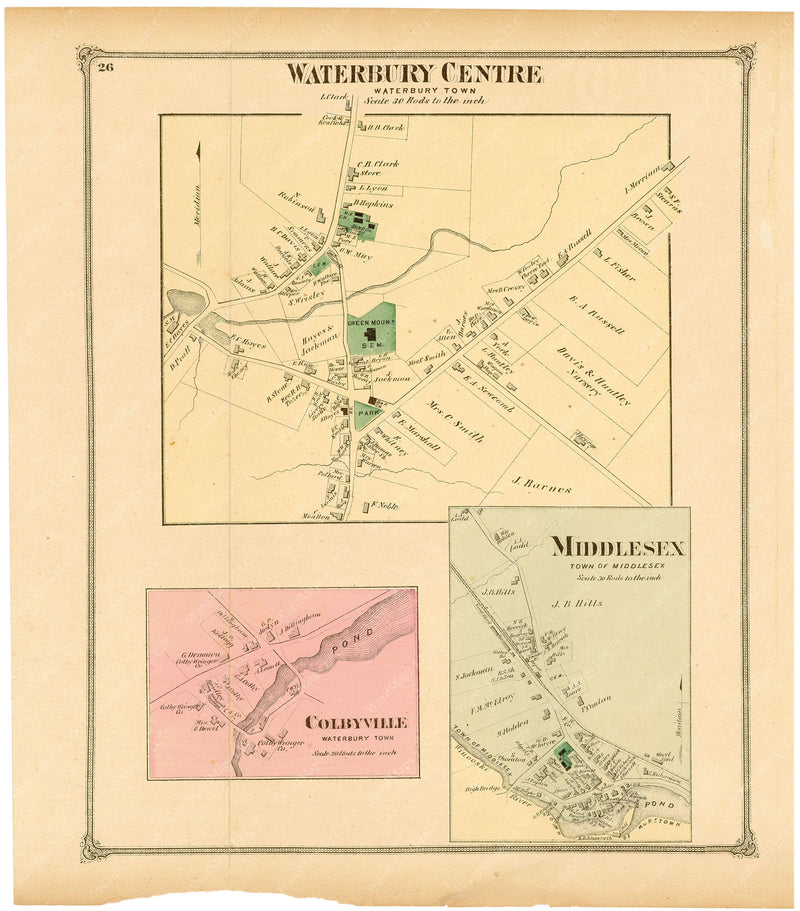 Waterbury and Middlesex, Vermont 1873