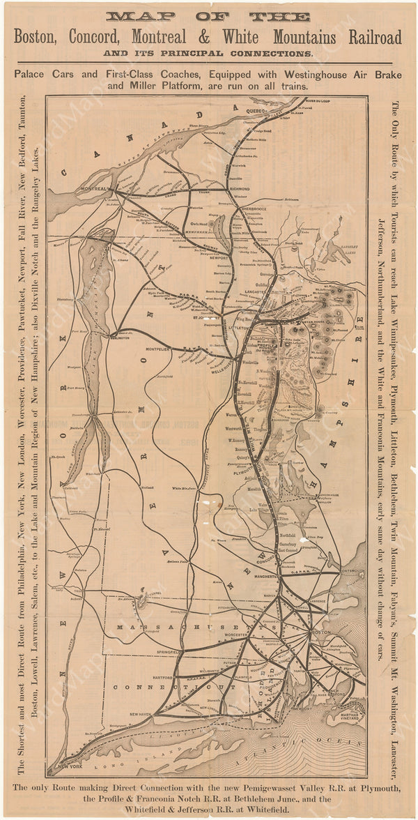 Boston, Concord, Montreal & White Mountains Railroad and Principal Connections (New Hampshire and Massachusetts)Circa 1860