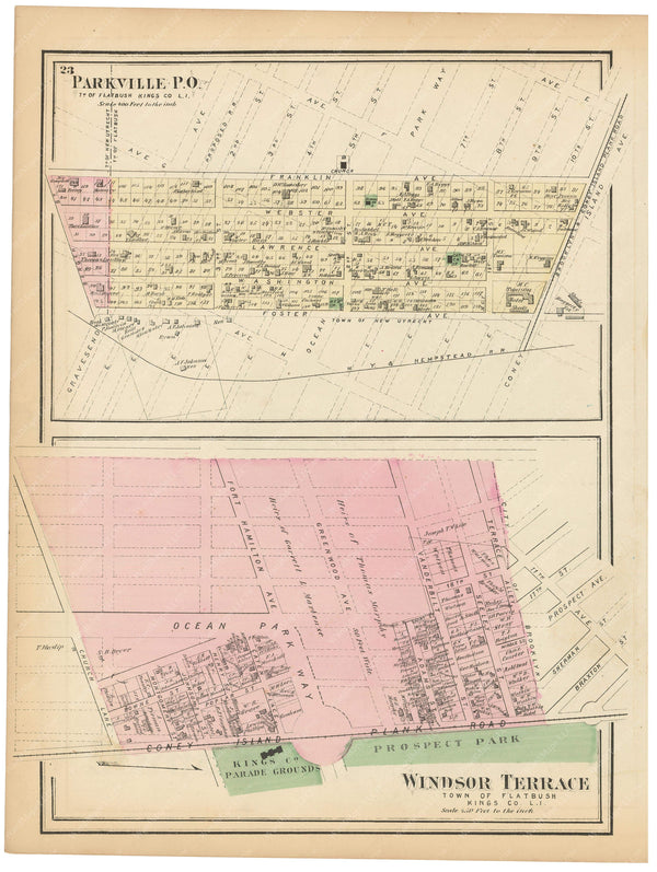 Flatbush: Parkville and Windsor Terrace, New York 1873