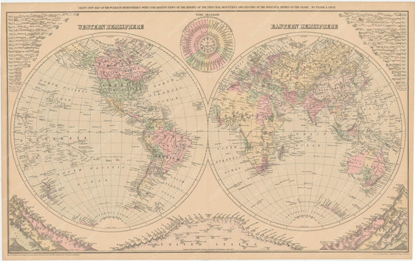 World Hemispheres, Mountains, and Rivers 1885