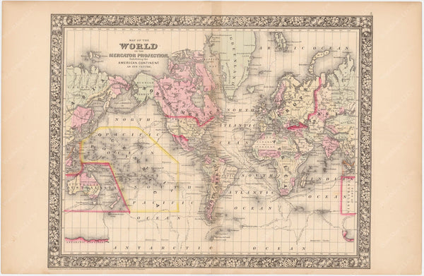 World on the Mercator Projection 1864