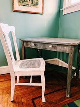 Weathered Wood Desk with Cane Seat Chair- Local Pick Up
