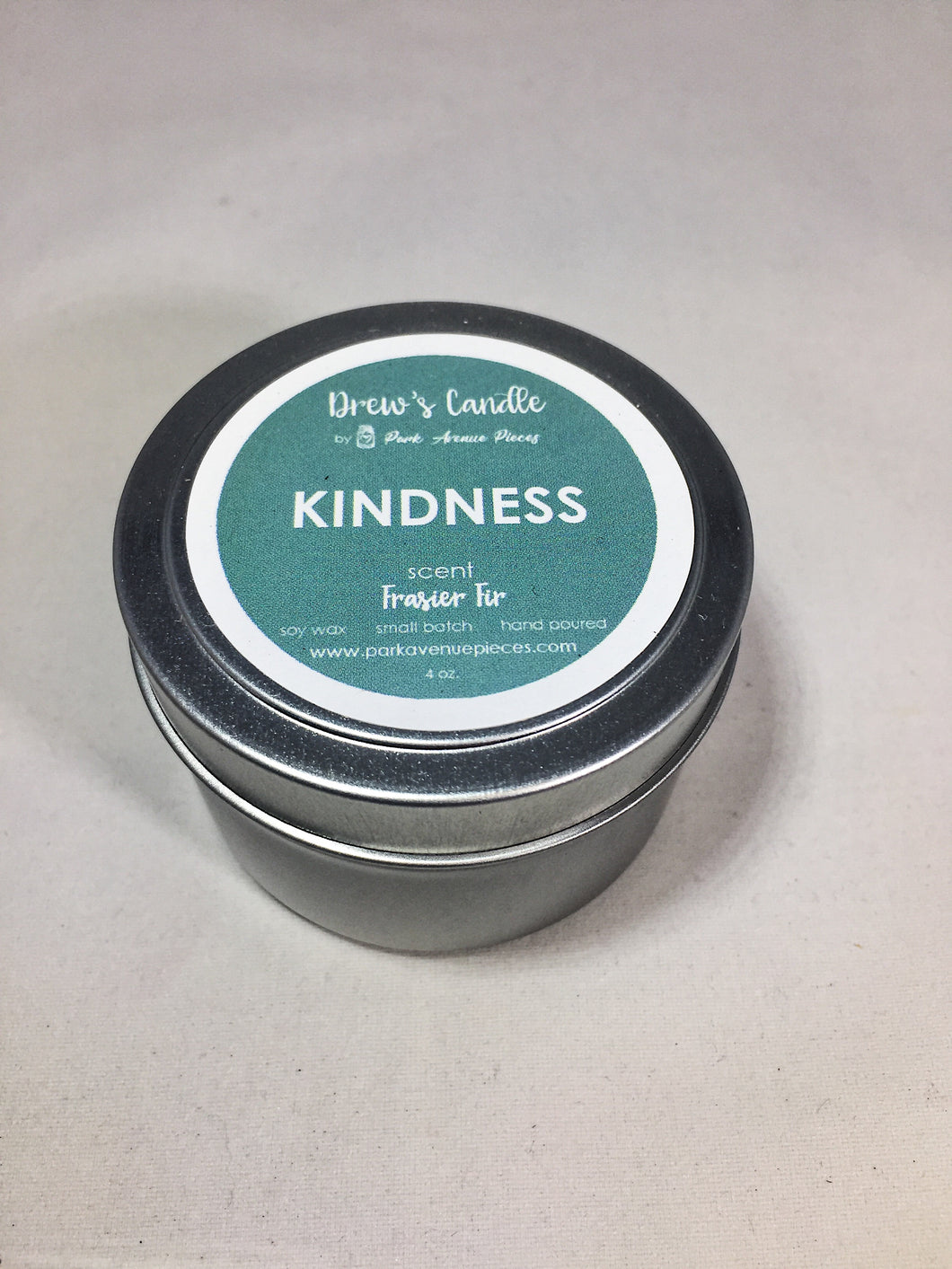 Drew's Tin Candle-Fraser Fir-Kindness