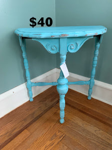 Vintage Blue Half Round Accent Table- Local Pick Up