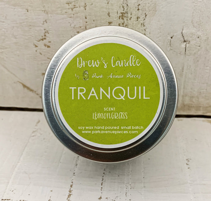 Drew's Tin Candle-Lemongrass- Tranquility